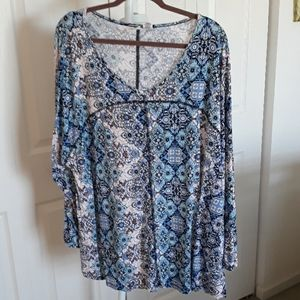 Artisan NY 3x blue, white tunic, beautiful